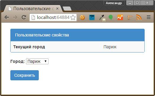 Редактирование пользовательского свойства с помощью Identity